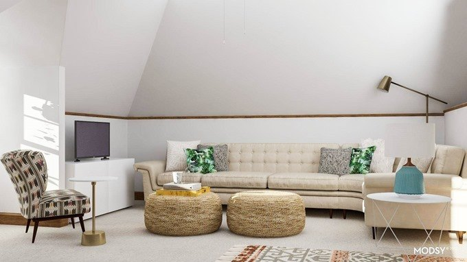 Reality Daydream Attic space designed floor plan 3d rendering by Modsy