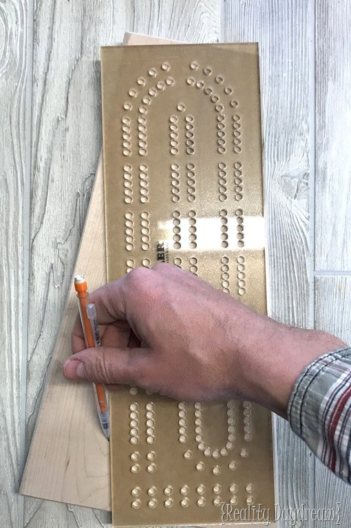 How to make a diy cribbage board reality daydream for Cribbage board drilling templates