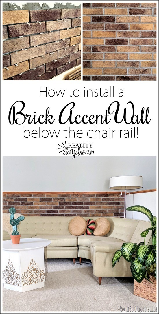 Tutorial on how to install a Brick Veneer Accent Wall below the chair rail with Coronado Stone Products! {Reality Daydream}