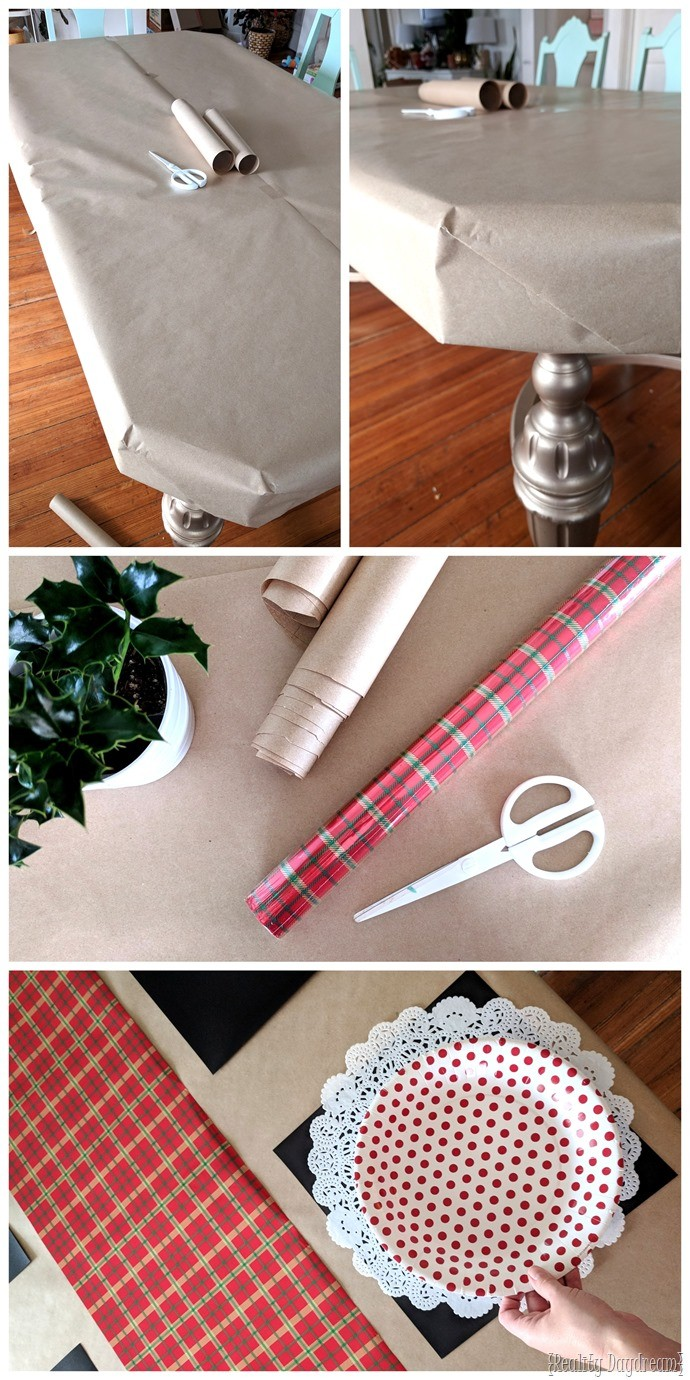 Wrapping the table in paper in preparation for a Christmas cookie decorating party! {Reality Daydream}