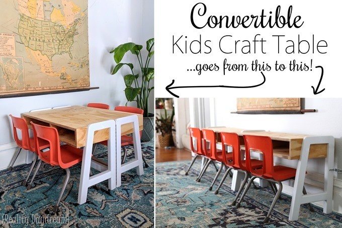Convertible Kids Craft Table - white and wood {Reality Daydream}