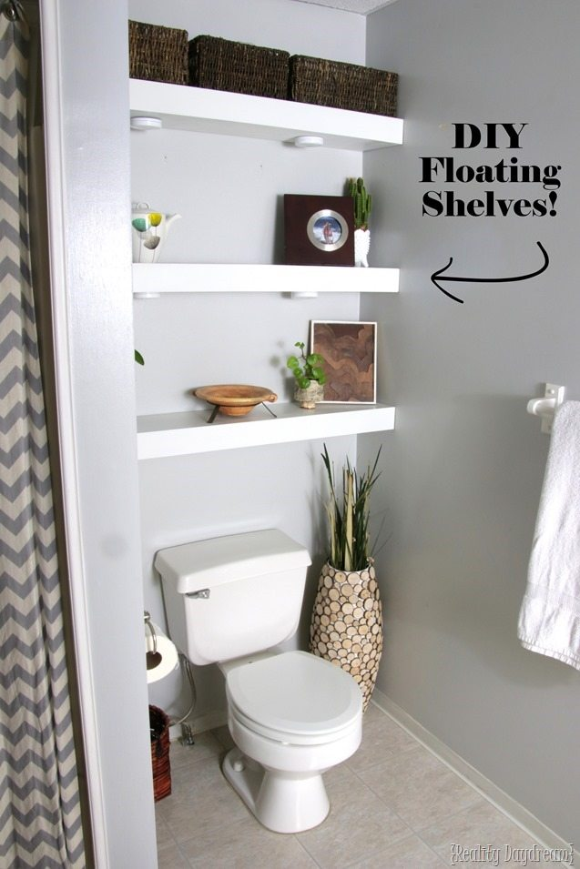 How to build diy floating shelves reality day dream - Floating shelf ideas for bathroom ...