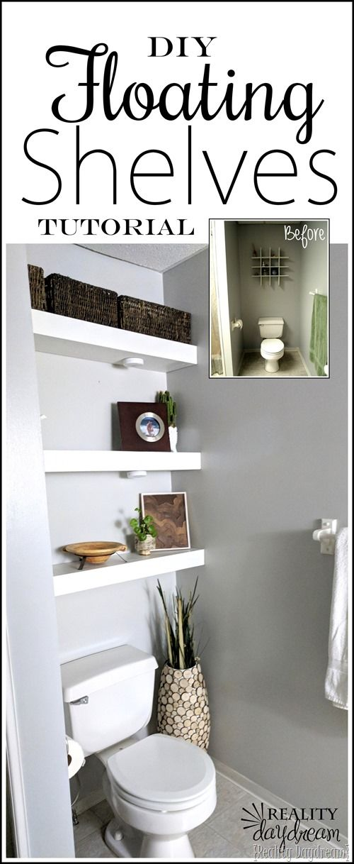 How to build DIY Floating Shelves to be installed above the toilet in the bathroom! #shelving #shelf {Reality Daydream}