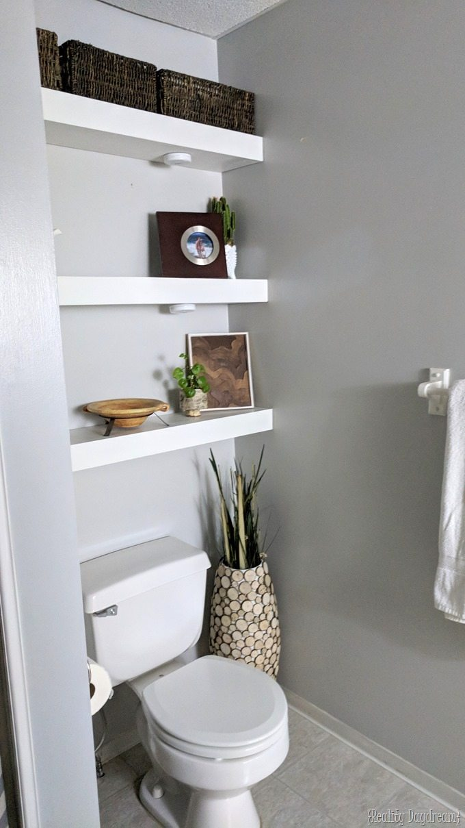 How to build floating shelves and install them above the toilet in bathroom