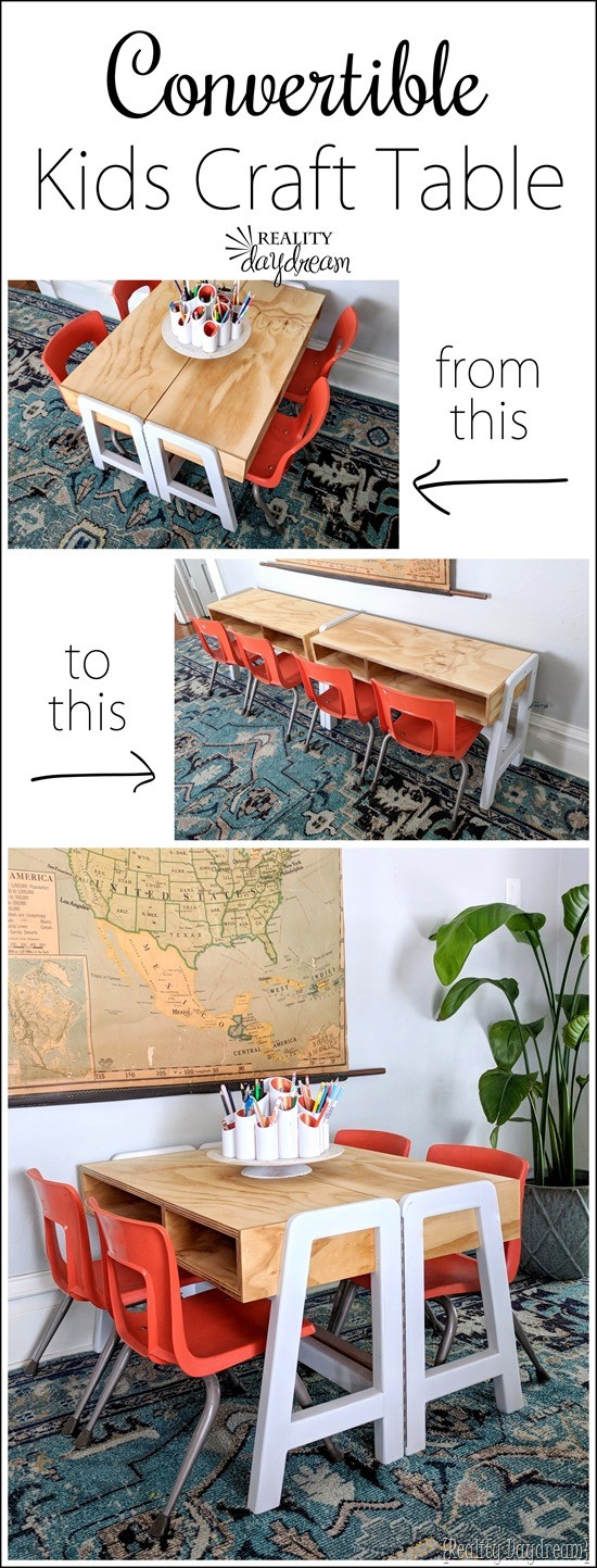 Make this MCM Convertible Kids Craft Table that opens up with a hinge! #white #desk #modern #tutorial {Reality Daydream}
