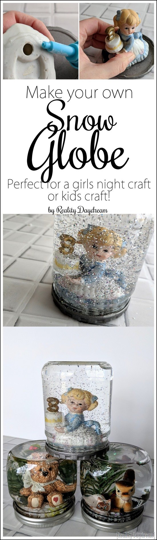 How to make a snow globe with this fun DIY craft - perfect for girls night or kids craft ideas! {Reality Daydream}