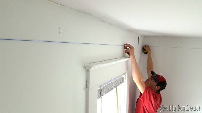 Use a chalk line when installing crown molding! {Reality Daydream}