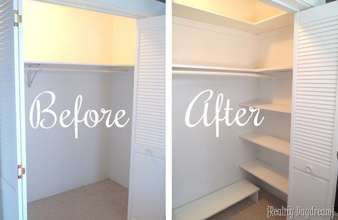 Closet shelving and organizers for optimizing space in small closets {Reality Daydream}
