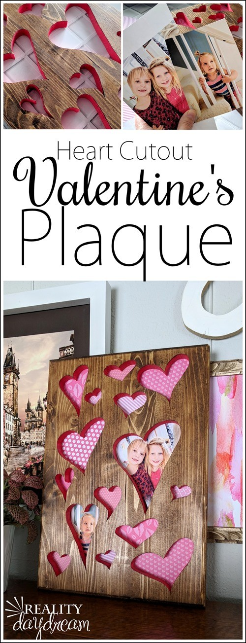 Make this Valentine's Day plaque with a scroll saw to cut out the hearts! {Reality Daydream}