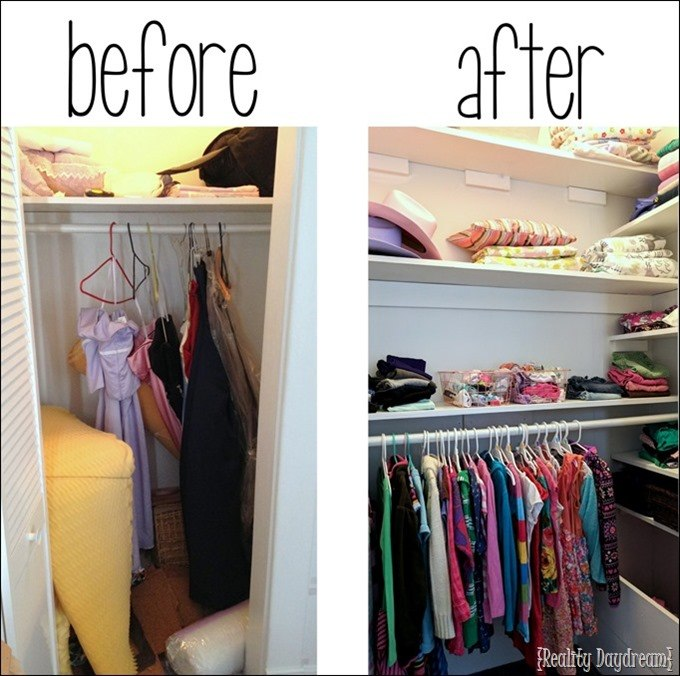 Maximize closet space by adding SO MUCH SHELVING. It's simple! {Reality Daydream}