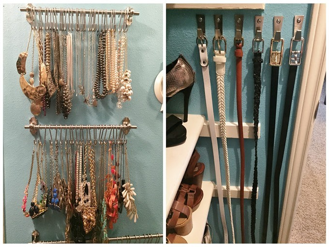 Utilize the wall space in your closet for hanging jewelry, belts, etc! {Reality Daydream}