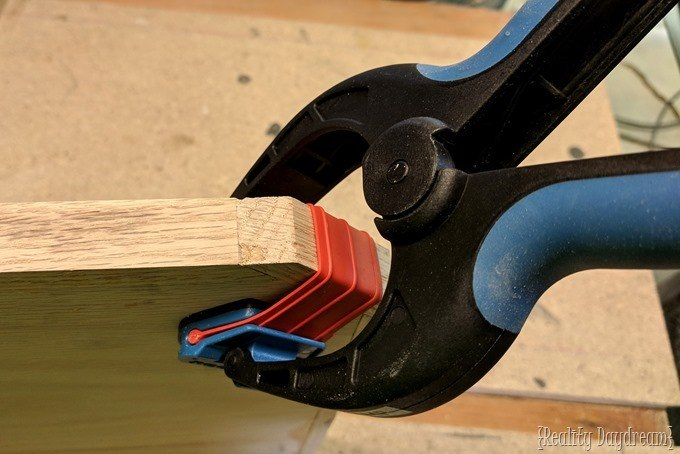 Apply edging using Bandy Clamps from Rockler {Reality Daydream}