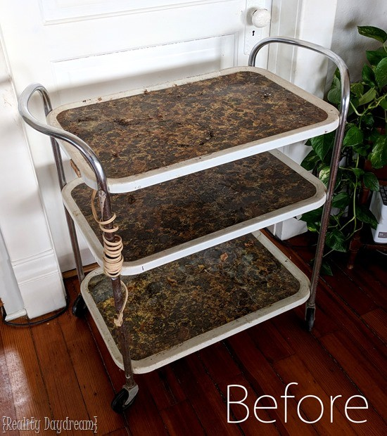 Before Vintage Bar Cart Makover with Spray paint and stencil {Reality Daydream}