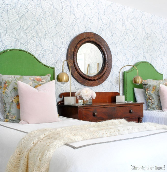 Green Upholstered Headboard for kids! Lots of ideas for fabric headboards!