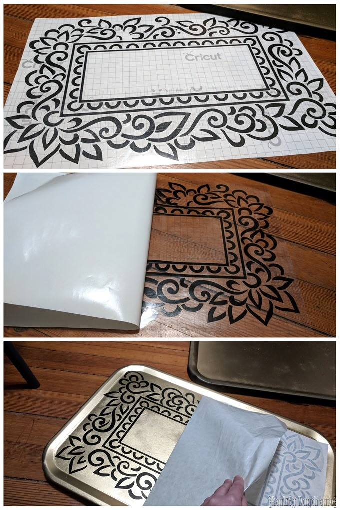 How to apply a vinyl stencil for painting a vintage bar cart {Reality Daydream}