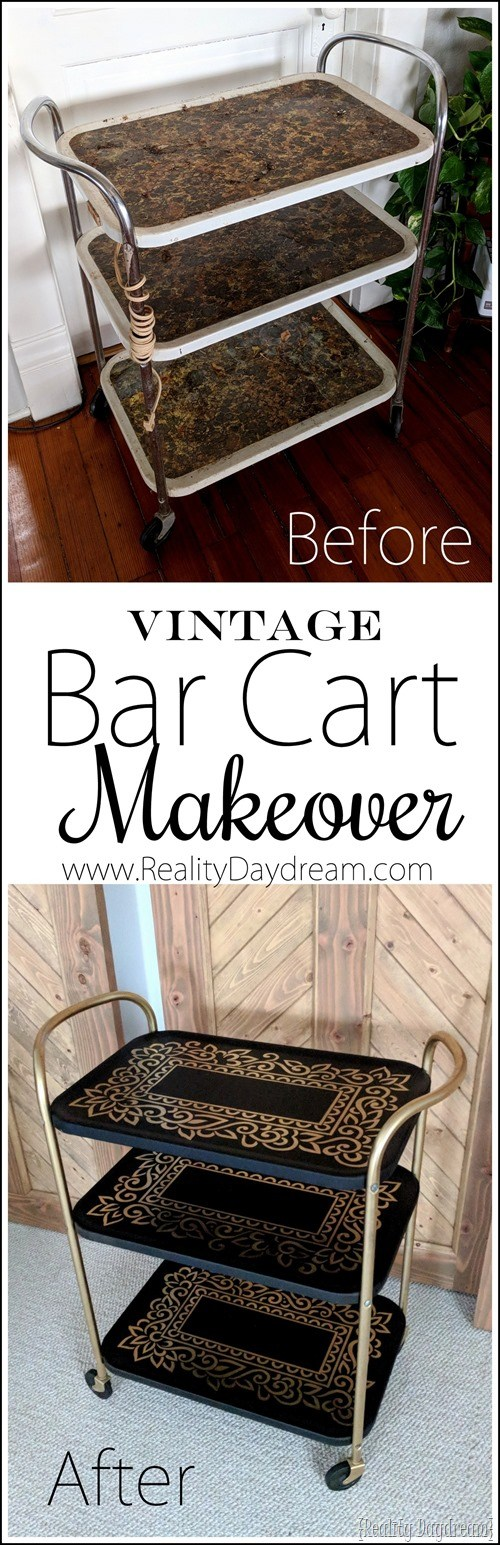 How to paint a vintage metal bar cart or utility cart {Reality Daydream}