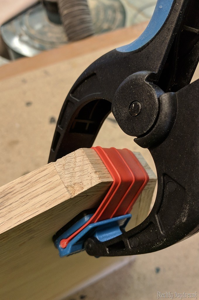 Using bandy clamps to put edging on plywood {Reality Daydream}