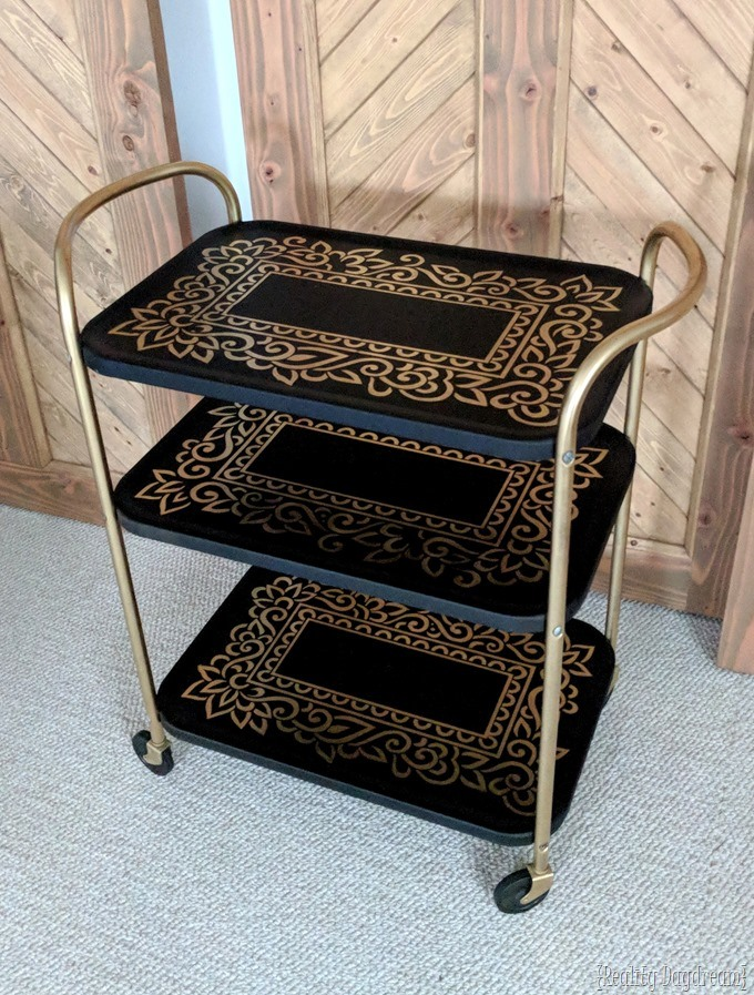 Vintage Rolling Bar Cart Makeover with spray paint and a vinyl stencil! {Reality Daydream}