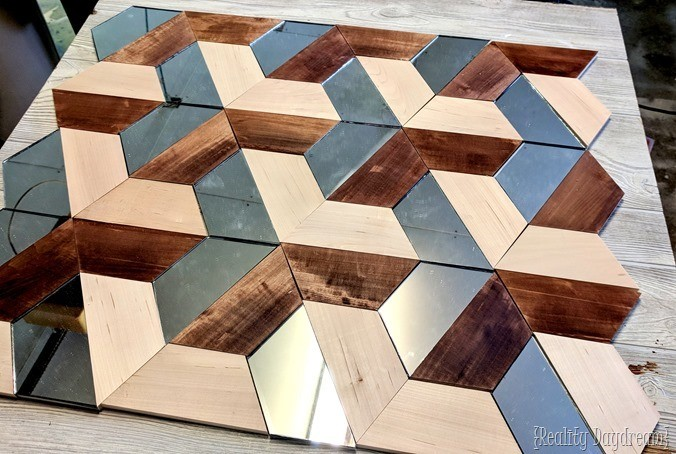 3D Wall Art using wood and mirror geometric shapes! {Reality Daydream}