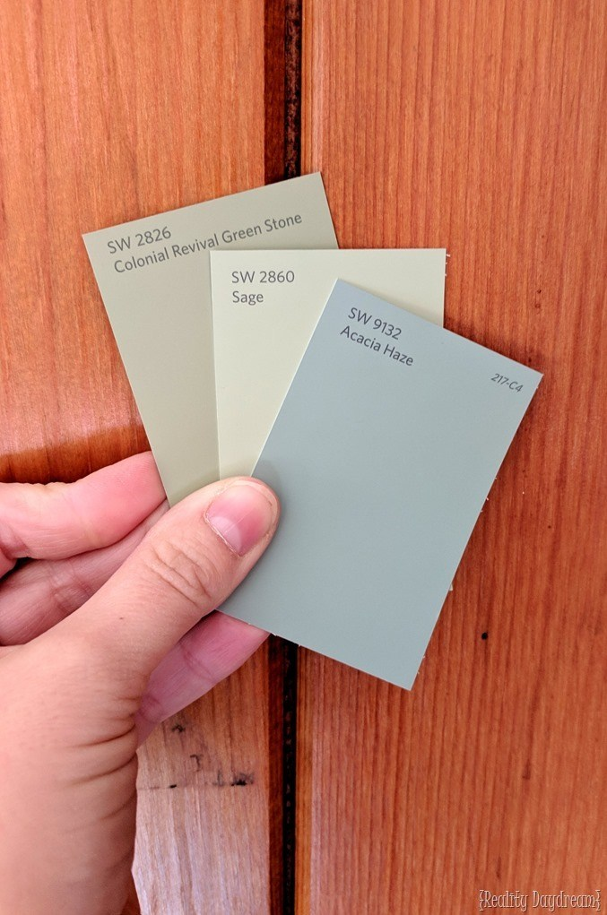Choosing a putty sage green for the sunroom {Reality Daydream}