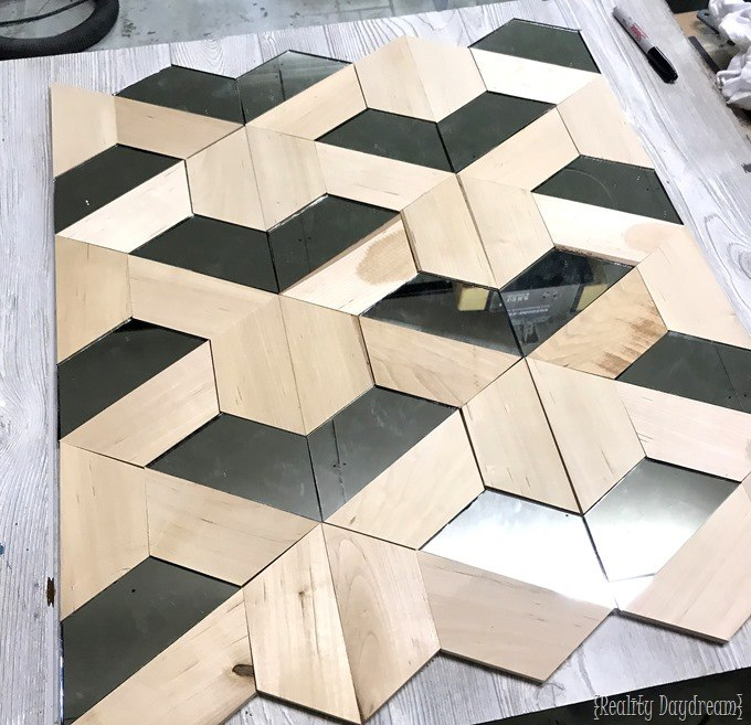 Geometric wood and mirror 3D Wall Art {Reality Daydream}