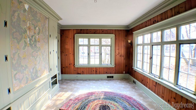 Sunroom solarium with painted trim and carsiding wood walls {Reality Daydream}