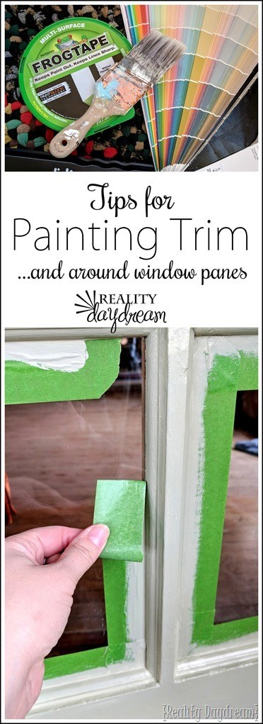 Tips for painting trim, muntins, mullions, french doors, and around window panes! {Reality Daydream}