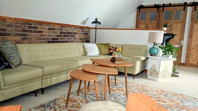 Vintage sectional couch for this attic family room makeover {Reality Daydream}