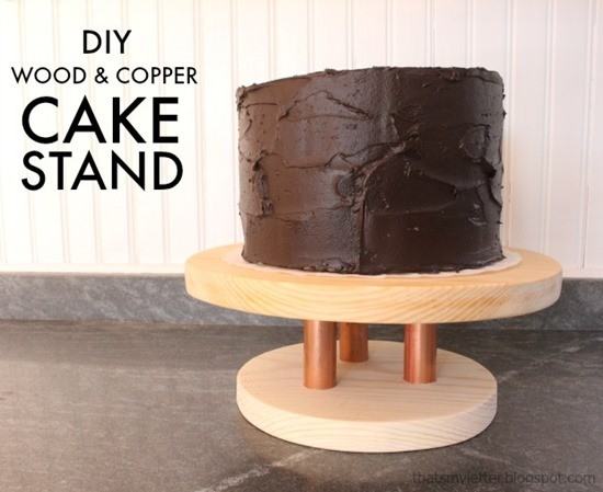 WOod and Copper DIY Cake Stands and other creative ideas for dessert stands