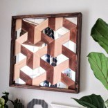 Wood and Mirror Geometric 3D Wall Art