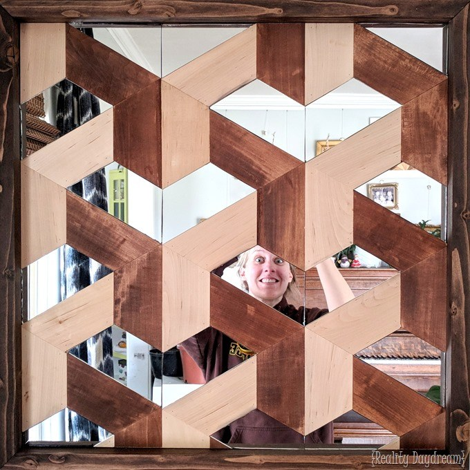 Wood and mirror geometric 3D wall art tutorial! {Reality Daydream}
