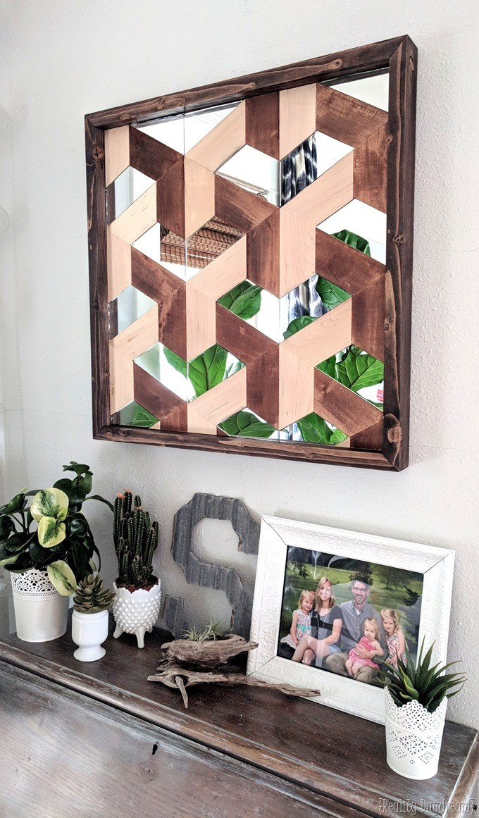 Wooden 3D Wall Art using geometric shapes of wood and mirror {Reality Daydream}