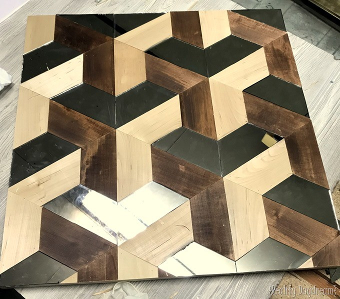 Wooden Wall Art using geometric shapes of wood and mirror! {Reality Daydream}