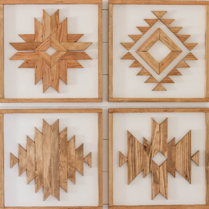 Katie from Addicted 2 DIY out-did herself with this group of 4 Aztec-inspired pieces of wood wall art. She nailed all those miters!