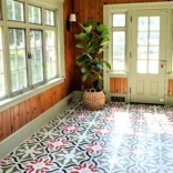 Stenciling on a Painted Linoleum Floor