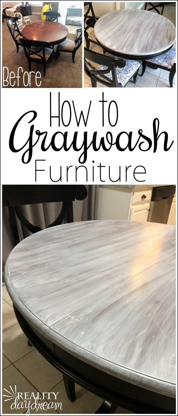 How to graywash or whitewash furniture to get that farmhouse look! #shabby #whitewash #graywash #farmhousedecor {Reality Daydream}
