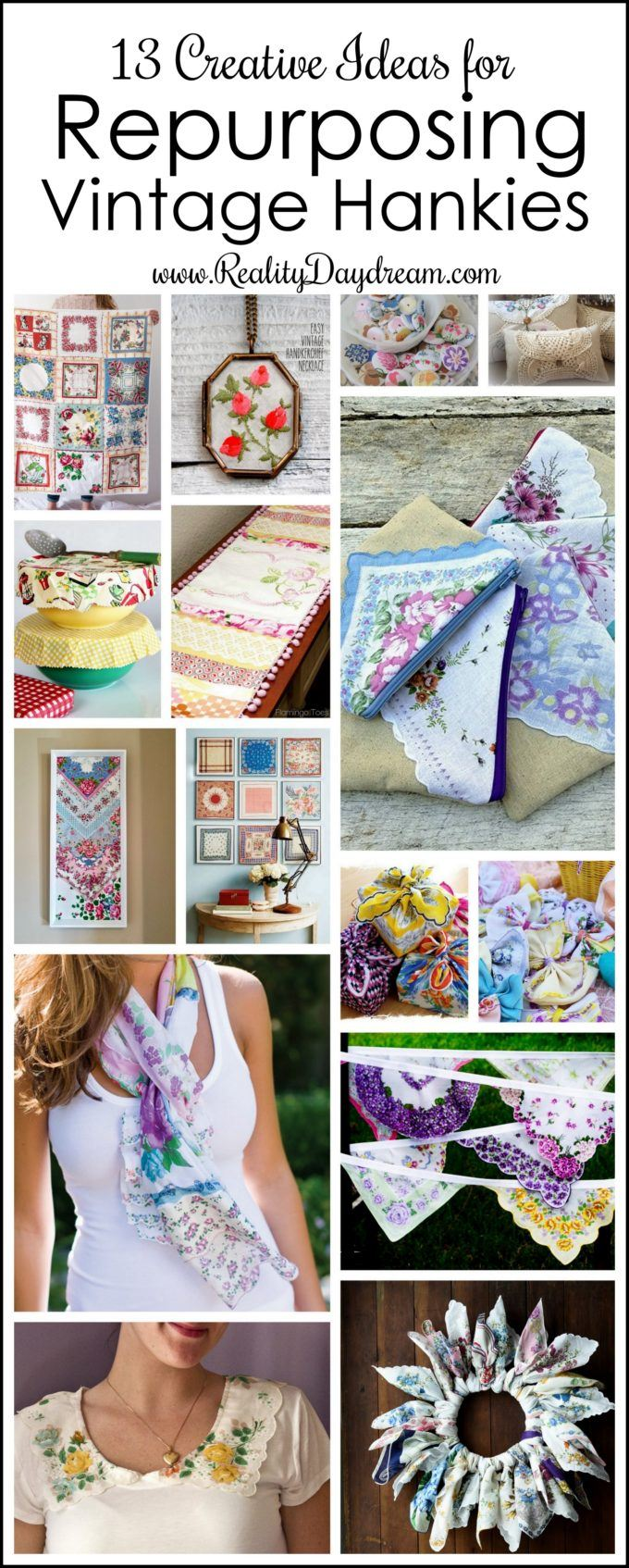Roundup of Repurposed VIntage Hankies {Reality Daydream}