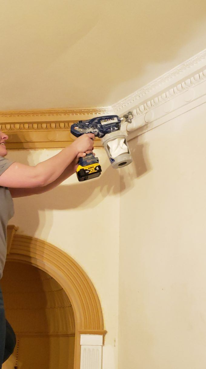 Painting trim with a paint gun