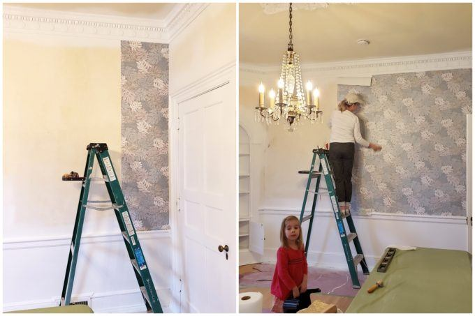 Having help putting up wallpaper with wallpaper paste is so important!